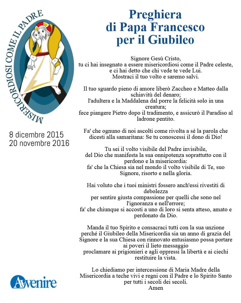 Famoso PREGHIERA PER IL GIUBILEO DI PAPA FRANCESCO AQ35